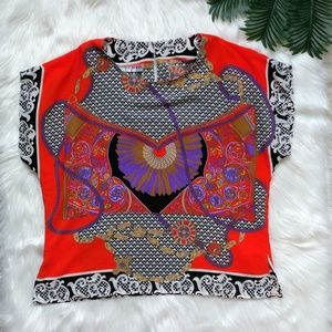Colorful Vintage Versace Inspired Blouse M / L